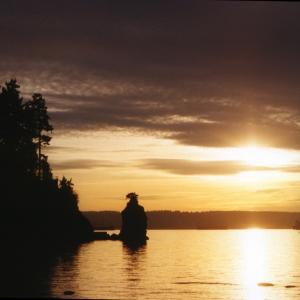 Sunset at Siwash Rock in Stanley Park, Vancouver